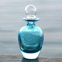 Murano glass decanter, 'Turquoise Sky' (small) (Brazil)