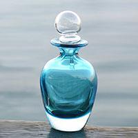 Murano glass decanter, 'Turquoise Sky' (small) (Brazil)