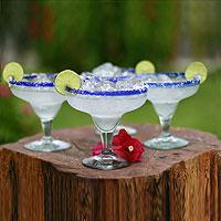Margarita glasses, 'Happy Hour' (set of 4) (Mexico)