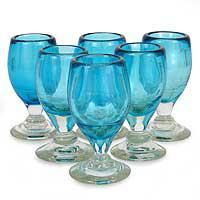 Blown glass shot glasses, 'Aqua Celebration' (set of 6) (Mexico)
