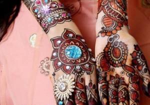 Gorgeous Colorful Stone Studded Bridal Mehndi Designs