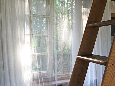 Ikea mosquito net curtains, loft ladder, treehouse