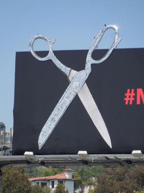 Project Runway #makeitwork glittering scissors billboard close-up