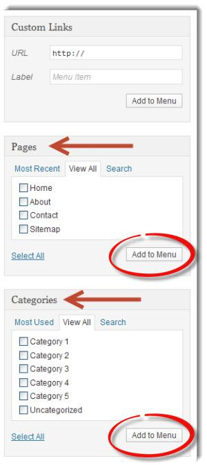 Adding Pages and Categories To Menus image