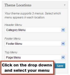 Selecting Navigation Menus image