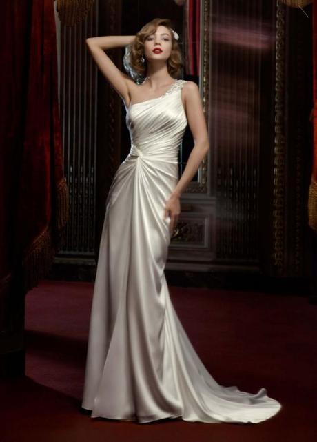 Davids Bridal one shoulder wedding dress, davids bridal boca, one shoulder wedding dress