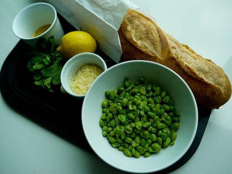 Ingredients for Broad Bean & Mint Bruschetta