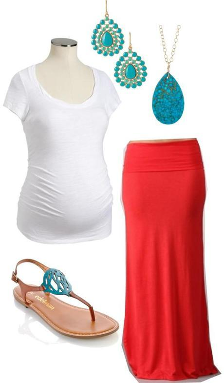 Coral and Turquoise Maternity