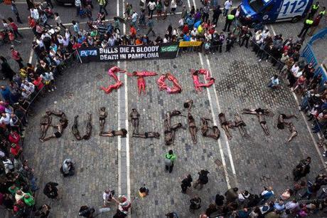 PETA's Painted People Pavement Protest Paralyzes Pamplona