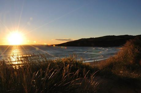 A warm sunrise on the New Zealand coast