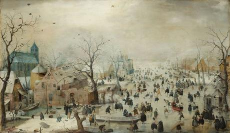 An oil painting showing a winter landscape with many people ice skating.