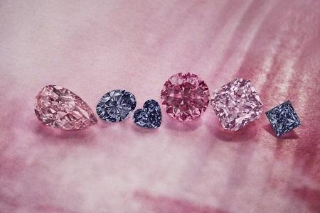 Rio Tinto showcase of Argyle pink, red, violet and blue diamonds