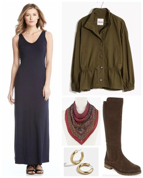 How to Style a Navy Maxi Dress for Fall and Winter
