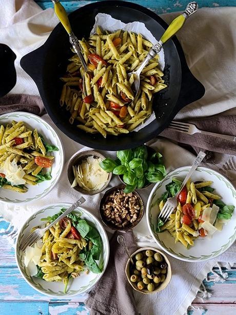 one skillet basil pesto pasta