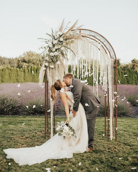 micro wedding venues ceremony altar on lavender field the snap bar