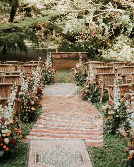 micro wedding venuesbohemian ceremony in wood lennypellico