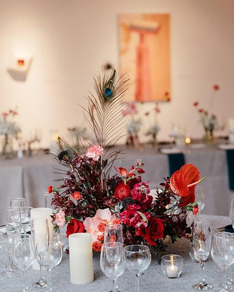 micro wedding venues flower centerpiece in art gallery emily wren photography