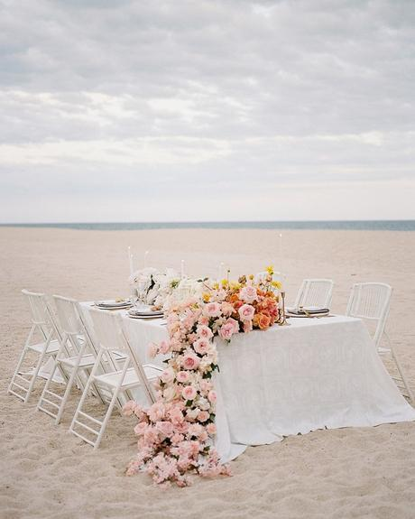 micro wedding venues beach bridal table with flowers jessicariekephoto