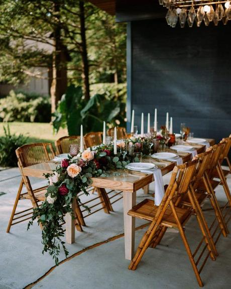 micro wedding venues backyard table flower tablerunner withloveandembers
