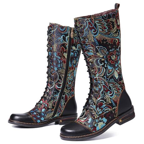 SOCOFY Leather Embroidered Elegant Mid Calf Boots