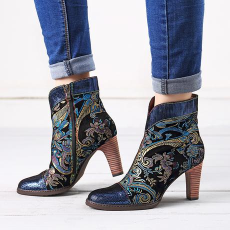 SOCOFY Emboidered Leather Splicing High Heel Boots