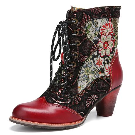 SOCOFY Retro Embroidery Leather Splicing Boots