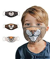 Image: 3Pcs Face Mask for Boys Reusable Washable Fluid Resistant Fabric Protection Size S | Visit the OFFCORSS Store