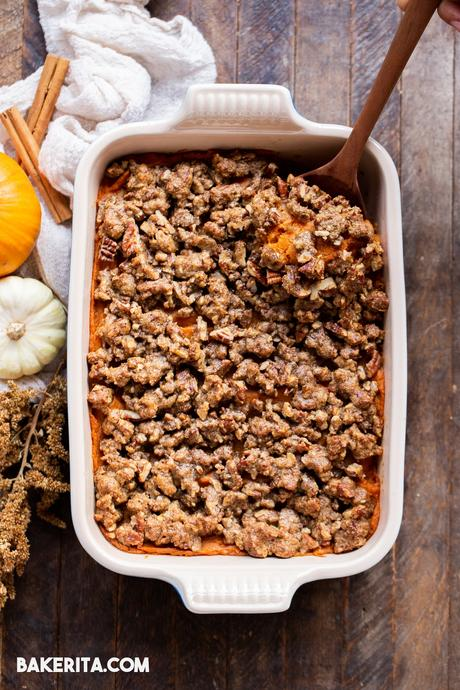 This Vegan Sweet Potato Casserole with Gluten-Free Pecan Crumble recipe is the best sweet potato casserole ever! It's made with fresh yams and coconut sugar for subtle sweetness that pairs perfectly with the rest of your holiday meal. With a crispy gluten-free pecan crumble topping, you'll definitely be serving yourself seconds. It's easy to make the day of, or can be prepared in advance for an easy make-ahead holiday side dish.