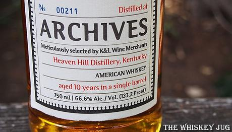 2009 Archives Heaven Hill 10 Years American Whiskey Lower Label