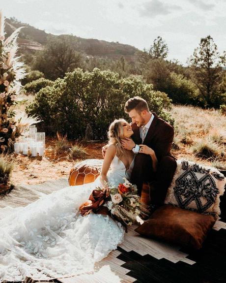 lucky wedding dates boho bride groom