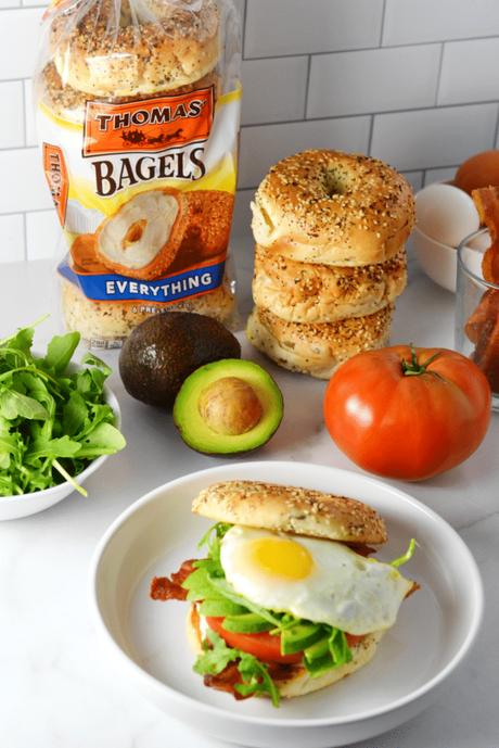 Avocado BLT Breakfast Bagel Sandwich