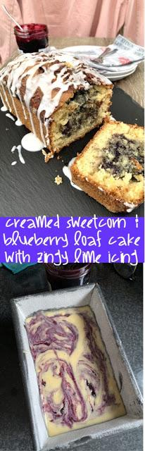Creamed Sweetcorn and Blueberry Loaf Cake with Zingy Lime Icing