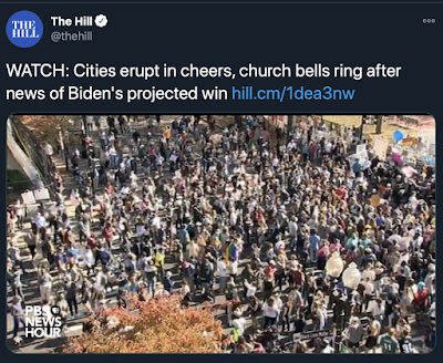 Church Bells Ringing Throughout the World, Horns Honking, Fireworks and People Dancing in the Streets: Celebration of the End of Trump Presidency