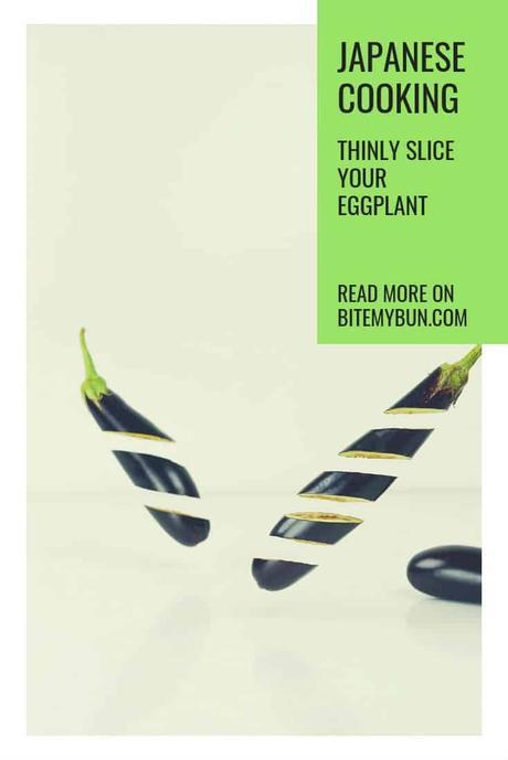 Thinly slice eggplant for vegan teppanyaki