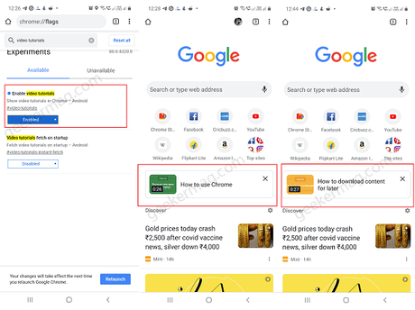 Chrome to Show Video Tutorials on New Tab page (In Android)