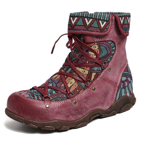 Bohemian SOCOFY Lace-up Boots