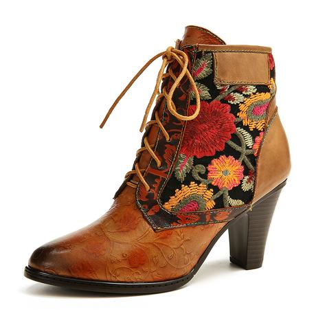 High Heel SOCOFY Lace-up Boots