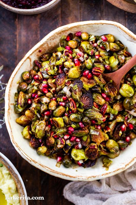 Roasted Brussels Sprouts with Pomegranate & Pecans