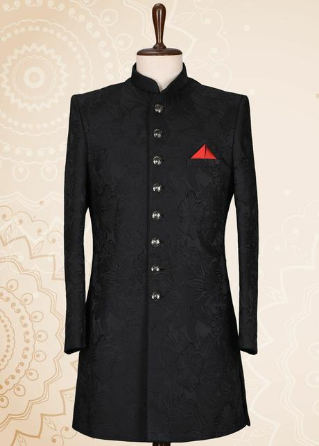 Black Sherwani Look