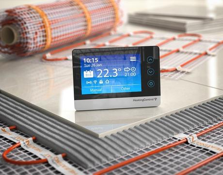 Underfloor heating mat with tile and digital thermostat
