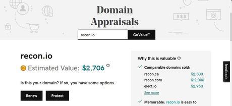 New disclaimer alert for GoDaddy Appraisal tool