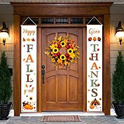 Image: Thanksgiving Fall Decorations | Happy Fall Y'all and Give Thanks Porch Signs | Thanksgiving Home Decor | Fall Decor for Home | Visit the Dazonge Store