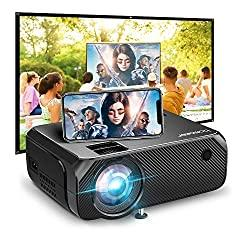 Image: Wi-Fi Mini Projector, Bomaker Portable Phone Projector for Outdoor Movies, 6000Lux, Full HD Outdoor Movie Projector, Wireless Mirroring, for iPhone /Android /Laptops /PCs /Windows /DVD Player /TV Stick | Visit the BOMAKER Store