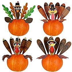 Image: DIY Thanksgiving Pumpkin Turkey Insert Making Kit for Thanksgiving Party Home Decoration Craft Kit Thanksgiving Toy Set (4 Sets) | Brand: Optimisland