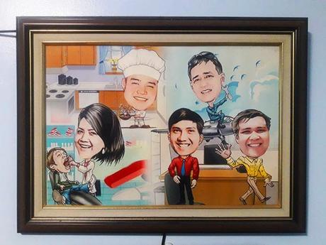 Family caricature (framed)