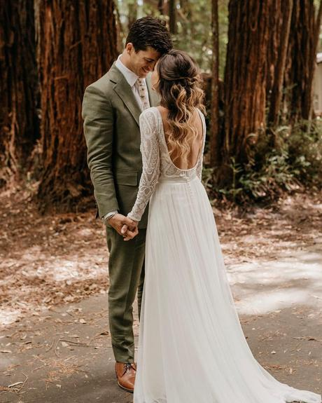 rustic wedding dresses a line low back with long sleeves lace lukeandmallory