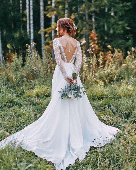 rustic wedding dresses a line v back with illusion sleeves lace alexveil