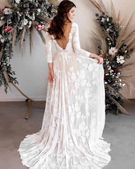 rustic wedding dresses a line v back with long sleeves wear your love