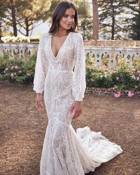 rustic wedding dresses trumpet with long sleeves v neckline vintage belinda