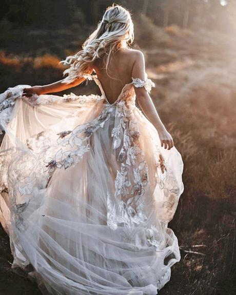 rustic wedding dresses a line low back floral appliques galia lahav